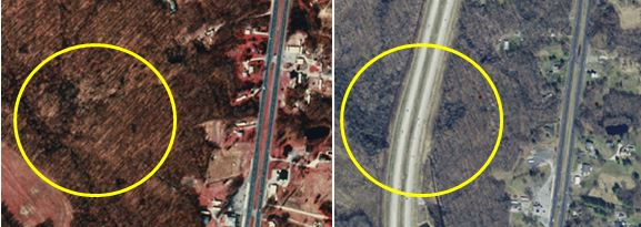 Aerial view before Route 1 was put in (1992) and after (2012). Wetland is in yellow circle.