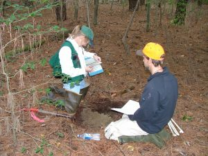 Amy Jacobs and Chris Bason examining hydric soils in 2004.