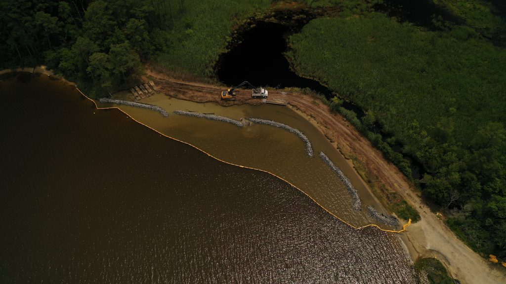Aerial view of site during construction of the living shoreline.