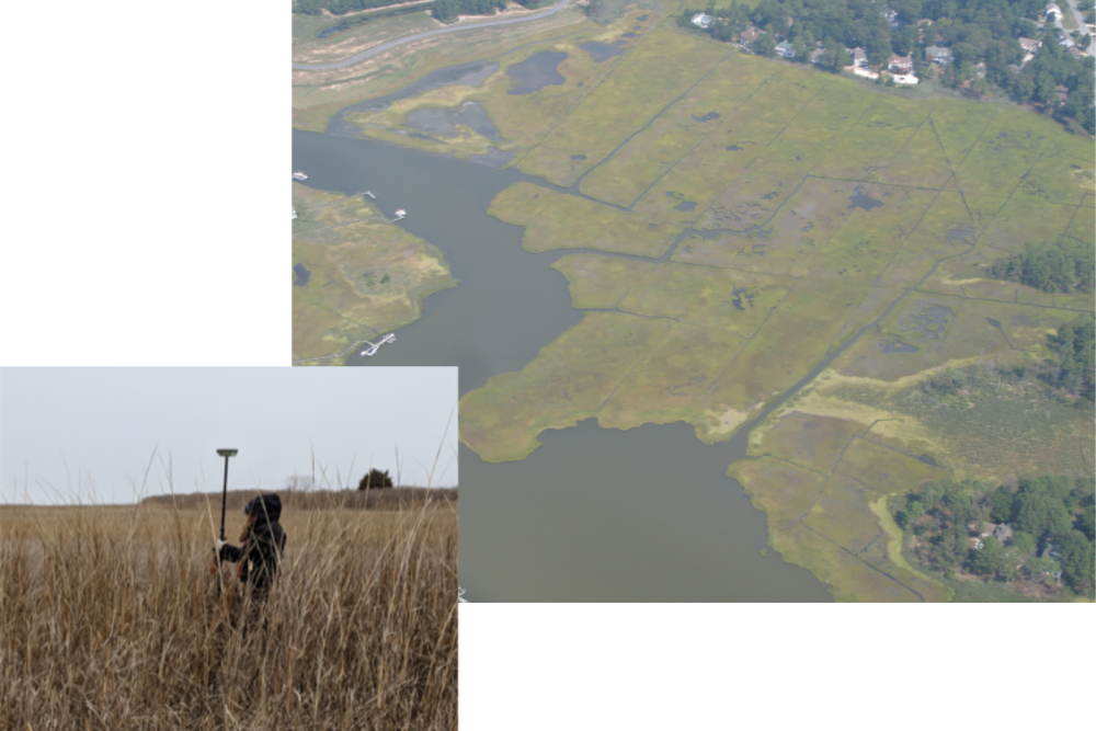 Figure 3: Murderkill River GPS surveying in February 2019 (image on left), and grid mosquito ditching in the marsh (on right: DNREC photo)