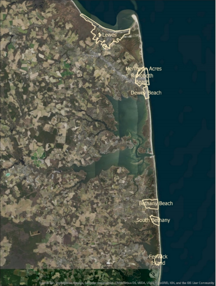 Delaware Coastal Municipality Locations